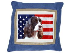 English Springer  Spaniel Patriotic Pillow by  Barbara Augello for Dogimage