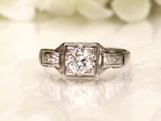 Antique Engagement Ring 0.55ctw H/VVS by LadyRoseVintageJewel