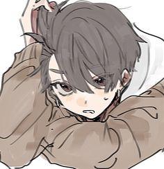 Anime Drawings Sketches, Anime Sketch, Cute Drawings, Cute Art Styles, Cartoon Art Styles, Manga Art, Anime Art, Boy Art, Cute Anime Guys