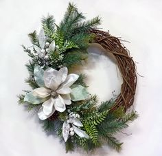 Winters Mist Winter Wreath Holiday Wreath Front by Floralwoods, $47.00