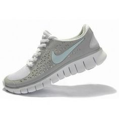 Wholesale Nike Free Run + Womens Running Shoes - Grey/White/Light-blue