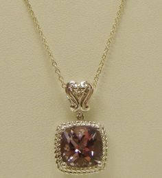 """VICTORIA WIECK STERLING SILVER NECKLACE PENDANT 18"""" CHAIN CUSHION CUT AMETHYST #VICTORIAWIECK #Pendant"""