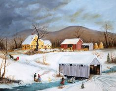 Currier And Ives Art~ Winter Crossing ~Joseph Holodook