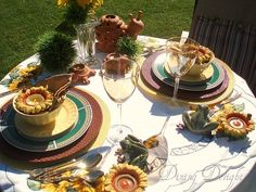 Yellow and green tablescape