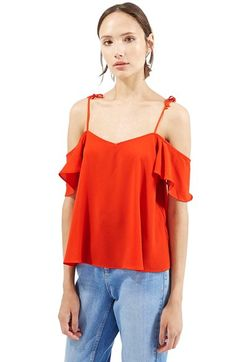 Topshop Tie Strap Cold Shoulder Top available at #Nordstrom