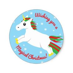 Magical Christmas Unicorn Sticker - holidays diy custom design cyo holiday family
