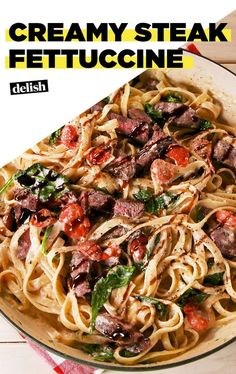 Steak Fettuccine You'll want to eat this Creamy Steak Fettuccine right out of the skillet.You'll want to eat this Creamy Steak Fettuccine right out of the skillet. Steak Marinade Recipes, Easy Steak Recipes, Grilled Steak Recipes, Beef Recipes, Italian Recipes, Cooking Recipes, Healthy Recipes, Cooking Tips, Cooking Steak