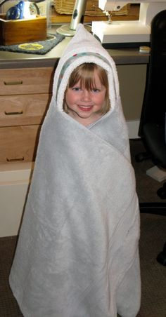 Way too easy hooded towel.  All you need is a towel, hand towel, and accent fabric.  Made these with theme beach towels for kids.  Were a hit! Recommend.  Christina