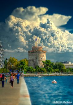 "gemsofgreece:""The White Tower, Thessaloniki, Greece"" Places Around The World, Travel Around The World, Around The Worlds, Paros, Santorini, Places To Travel, Places To Visit, Macedonia Greece, Greece Pictures"