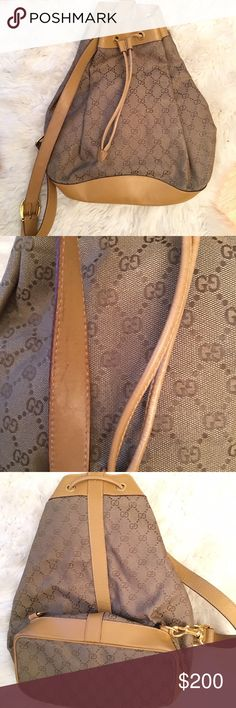 Authentic Gucci GG One Strap Backpack Beautiful but used authentic Gucci Packpack seeking a new home. The outside has signs of wear although they are minimal compared to the inside. The strap has a few scratches as pictured. The inside is worn (picture 4). Approx 10.5x16 in. This bag is a vintage one strap Gucci and will spice up any outfit! Gucci Bags Backpacks