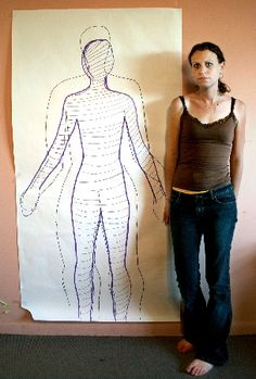 Draw how you perceive your body. Then do an actual outline of your body.