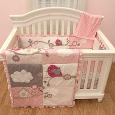 Pink & Brown Patchwork Dot with Bird Baby Girls Nurse 5 Piece Crib Bedding Set