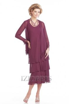 Sheath/Column Scoop Tea-length Chiffon Mother of the Bride - IZIDRESSBUY.com at IZIDRESSBUY.com