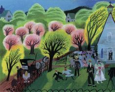 Church Wedding - Pink -- Another Coronet magazine cover of a country springtime wedding – complete with pink, blossoming Mary Blair trees.