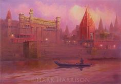 """""""Sunrise On The Ganges"""". Varanasi (Benares) at first light, the first painting resulting from my recent visit. Oil on linen 22"""" x 16""""."""