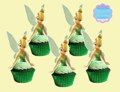 Disney Frozen Cupcakes, Disney Princess Cupcakes, Princess Cupcake Toppers, Tinkerbell Party Theme, Tangled Party, Mickey Mouse Clubhouse, Minnie Mouse Party, Mouse Parties, Festa Thinker Bell