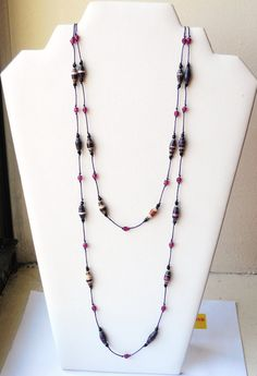 Purple+Paper+Bead+Knotted+Lariat+Necklace+by+FeithHodgeCreations,+$22.50