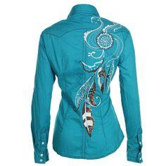 Panhandle Slim Womens Peacock Long Sleeve Western Shirt