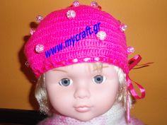 Σκουφάκι για κοριτσάκι με περλίτσες πλεγμένες και όχι ραμμένες για την ασφάλεια του παιδιού, με κορδέλλα, γίνεται σε ό,τι χρώμα και μέγεθος θέλετε. Hat for girls with perls knitted for the safety of the child, it can be done in any size and color you like.