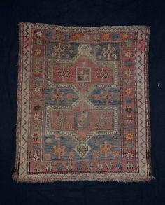 antique Orientteppich Kazak 115x100 worn caucasian rug tappeto tapis