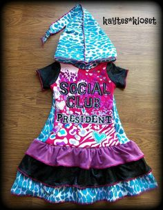 Custom Boutique SOCIAL CLUB PRESIDENT Upcycle Hooded Tee Dress 4 5 11.5 x 25