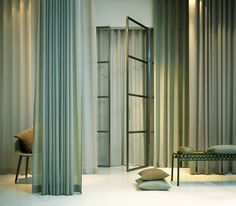 Our flame retardent fabric Nizza. Photo by Mattias Nero Royal Park, Flame Retardant, Curtains, Curtain Ideas, Fabric, Instagram, Home Decor, Tejido, Blinds