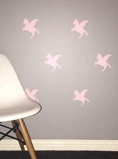 Unicorns Removable vinyl wall decals. Interior design • kids rooms • nursery • girls rooms • boys rooms Removable Vinyl Wall Decals, Girl Nursery, Kids Rooms, Girl Room, Unicorns, Boys, Girls, Interior Design, Home Decor