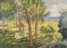 Two girls in a landscape | Henri Lebasque | oil painting #OilPaintingGirl
