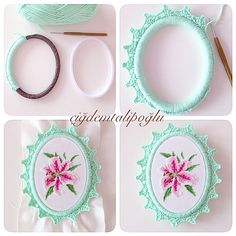 Asahi Original Crochet Lace Cafe 2014 - Her Crochet Embroidery Hoop Crafts, Hand Embroidery Videos, Embroidery Jewelry, Hand Embroidery Patterns, Ribbon Embroidery, Cross Stitch Embroidery, Diy Embroidery Frame, Crochet Decoration, Fabric Jewelry