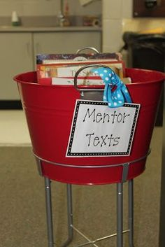 Bin for organizing mentor texts... can use with Lucy Calkins Units of Study too: