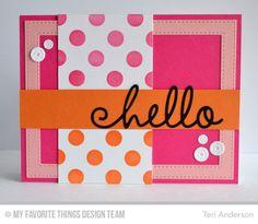 Happy Hellos Die-namics, Sequins Die-namics, Stitched Rectangle Frames Die-namics, Large Polka Dots Stencil - Teri Anderson  #mftstamps