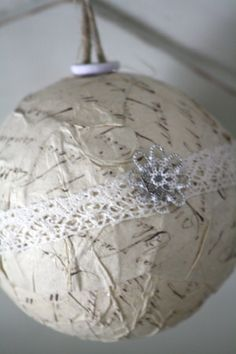 paper mache with lace ribbon Christmas ornament