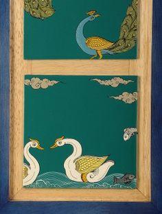 Peacock & Duck Hand-Painted Pattachitra Black Canvas Paintings, Indian Art Paintings, Mural Painting, Fabric Painting, Indian Traditional Paintings, Duck Art, Jai Hanuman, Bamboo Design, Indian Folk Art