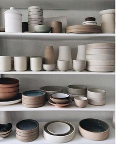 Shelf full of beautiful handcrafted ceramics and pottery #shelves #shelfie #handcrafted #ceramics #pottery