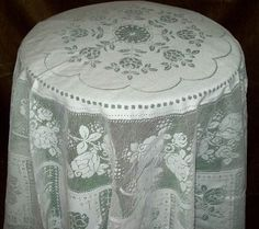 """Rosemary Scottish Lace Tablecloths - 70"""" Round - Ivory & White - Sale"""