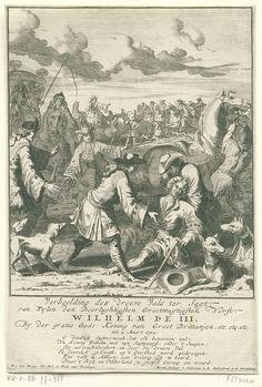 Pieter van den Berge   De dodelijke val van Willem III tijdens een jachtpartij, 1702, Pieter van den Berge, 1702   De dodelijke val van koning Willem III tijdens een jachtpartij, 4 maart 1702. De koning zittend op de grond wordt door omstanders overeind geholpen, achter de koning zijn paard. Met een vers van 6 regels.