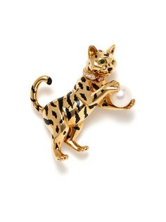 WOW!! Cartier Diamond & Pearl Tiger Brooch by Provockative Gems on Gilt.com