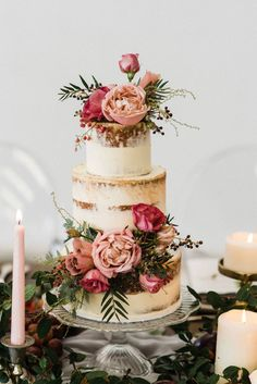 Rustic Wedding Ideas From rustic semi-naked cakes to rustic table decor, flower crowns and barn wedding venues, we round up 45 of the most breathtaking ideas for your rustic themed wedding day. How gorgeous is this semi-naked wedding cake? Industrial Wedding Venues, Rustic Wedding Venues, Wedding Cake Rustic, Rustic Birthday Cake, Wedding Cake Designs, Wedding Cake Toppers, Naked Wedding Cake, Wedding Flowers, Wedding Day