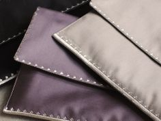 MaiTai's Picture Book: Carré pochettes in black, mauve and taupe. 100% brushed cotton, made in France.