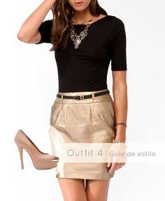 Luce totalmente #elegante con una #falda #dorada. Contrástala con los #Pump #Café Napa: http://www.brantano.com.mx/producto/621-pump-cafe-napa.aspx