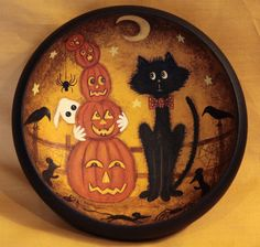 Halloween Folk Art Primitive Wood Bowl  Black Cat by Ravensbend, $24.00