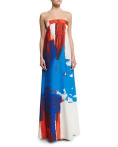 Strapless Printed Trapeze Gown  by Milly at Neiman Marcus.