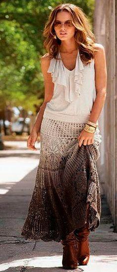 modelo de saia degrade de crochet