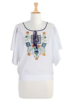 #eShakti, Blouses, Floral Top, Folk Art, Art, Floral Embroidery