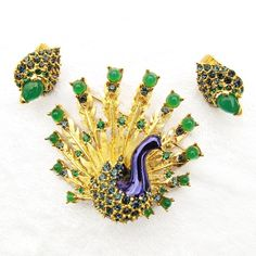 Vintage 1960's Boucher Enamel and Crystal Peacock Figural Brooch and Earring Set from Vintage Jewelry Girl! #vintagejewelry #vintagejewellery #boucher