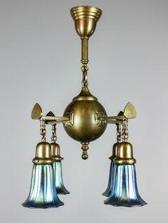 unusual antique light fixture 4light