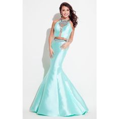 Rachel Allan 7254 Prom Mermaid Dress Long Halter Sleeveless ($458) ❤ liked on Polyvore featuring dresses, gowns, formal dresses, mint, white formal evening gowns, white halter top, long formal gowns and formal gowns