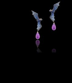 Lydia Courteille bat earrings in black rhodium gold, diamonds, sapphires and amethysts