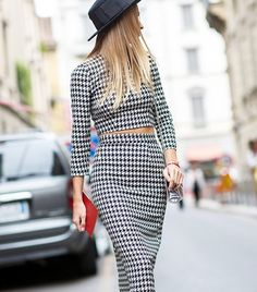 An eccentric houndstooth two-piece set // Photo: The Styleograph #MFW #streetstyle