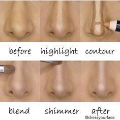 Truque facinho dar a impressão que o nariz é mais fino e arrebitado (via @dressyourface)